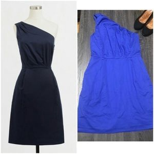J. Crew Royal Blue One Shoulder Pleated Dress 4